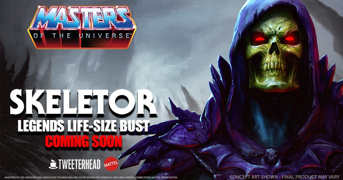Skeletor Legends Life-size bust. Coming soon from Tweeterhead